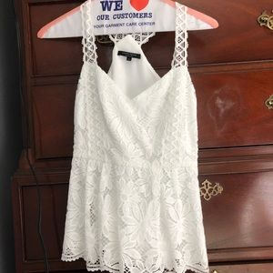 Nanette Lepore White Conga Lace Floral Top